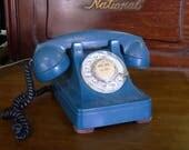 Blue rotary telephone