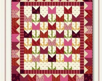Nancy Rink Designs It's Tulip Time 40 x 44 Fat Quarter Friendly Quilt Pattern Free Ship