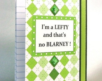 Irish note book, Left handed notebook, No blarney, Ireland, Lefty humor, Mini notebook,Shamrock green, St Pattys gift, Harlequin pattern