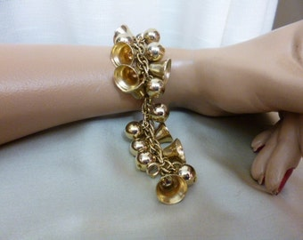 JINGLE JANGLE Bell and Bead Charm Bracelet, Gold Tone Metal, Fabulous and Fun