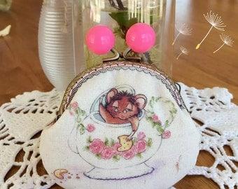Alice in Wonderland Dormouse handmade coin purse/jewellery bag—unique design