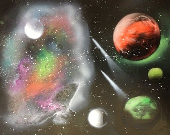 Spray paint art planets with colorful galaxy in Space