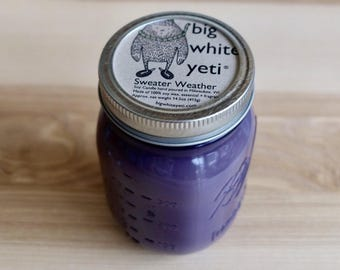 Purple, Green, or Clear Mason Jar Soy Candle - Custom Scent