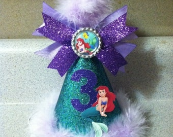 the little mermaid birthday party hat first birthday or any age