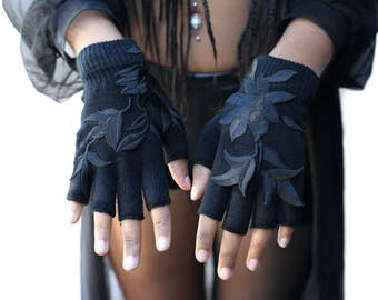 Black knit fingerless gloves with black embroidered rose design fall goth street black errythang