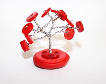 Miniature Red Button Wire Tree - Critterfly