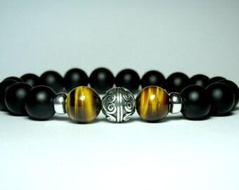 Onyx Bracelet, Tiger Eye Beaded Bracelet, Sterling Silver Jewelry, Mens Jewelry, Mens Gift, Boyfriend Gift, AAA Tiger Eye