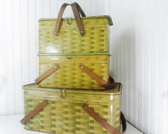 Antique lunch box, metal lunch box,picnic basket,vintage metal box,set of three, bent wood, basket weave,