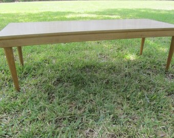 Danish modern coffee table, Mid Century Modern Furniture, Blonde Wood, Formica Top