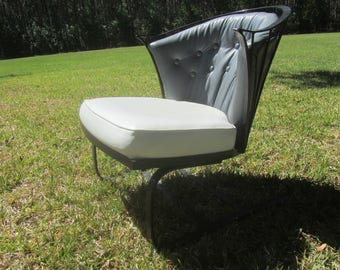 Mid Century Patio Chair, Wrought Iron Chair, Metal Chair, Mid Century Decor,