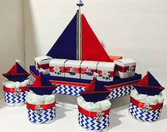 Nautical Baby Shower Diaper Cake, Nautical Baby Shower Centerpiece