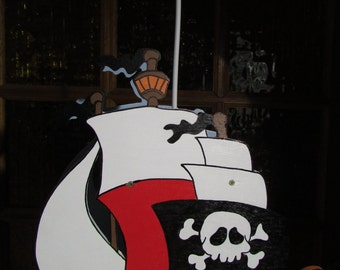 suspended wooden boat pirates
