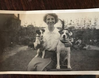 Vintage Dog photo Lady and 2 fox Terriers
