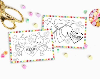 PRINTABLE Color Your Heart Out - Color-able Valentine Cards - Bumble Bees, Hearts, Color-able
