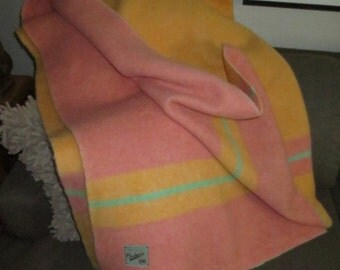 Vintage Grehora Genuine Wool Striped Blanket,Reversible 2 tone Pink or Yellow,Made in England,