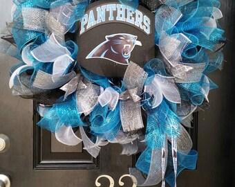 Large Mesh Ribbon Carolina Panthers NFL Pro Football Wreath Blue Black Silver