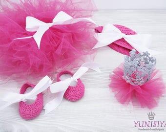 Newborn Tutu set Crown of lace Ivory Tutu Crochet Ballet Slipper Set Ballerina Tutu birthday tutu Baby Tutu Set Crochet hat Photo Prop
