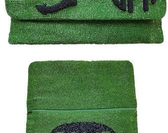 Custom Monogram Beaded Raised Anchor Handbag With Date
