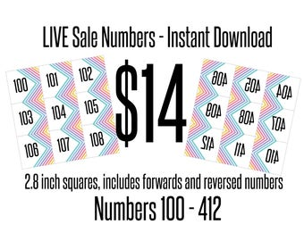 Live Sale Numbers, includes forward & reversed - Instant Download