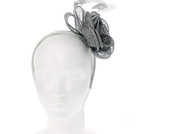 Classic Corsage Rose Flower Fascinator for Weddings or the Races, with a Sinamay bow and delicate feathers. Beautifully Sculptured-Blue Grey
