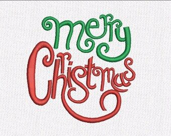 Merry Christmas Embroidery Design Instant download