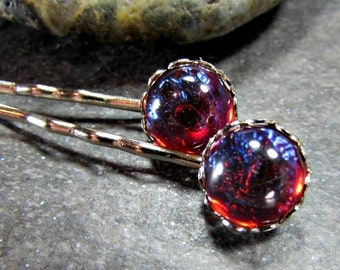 Dragons Breath Opal Hair Pins with Silver or Gold Plated Bobby Pins- Gothic Jewelry- Valentines Day Gift