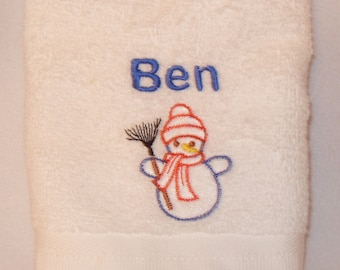 Personalised Christmas Snowman Face Cloth Flannel Any Name 100% Cotton