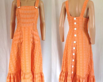 1970's Creamsicle Orange Cotton Sundress Buttons Up the Back Sz. S/M