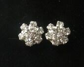 Vintage 1950s Clear Crystal Studs - Pierced Ears - Vintage Earrings
