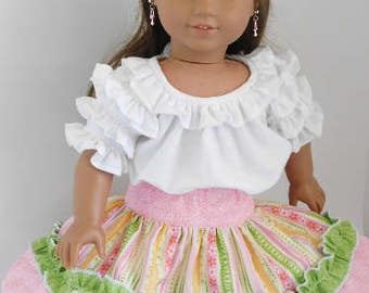 Ruffled Party Skirt for 14 or 18 inch Girl Doll, American Made cowgirl outfit, Mexican Fiesta, frilly circle western square dance