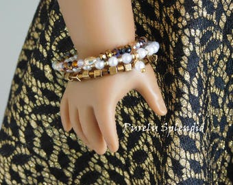 Set of 3 Brown & Pearl Trendy Stacking Bracelets for 18 inch girl dolls, American Made stylish accessories, No Clasp dress up doll jewelry
