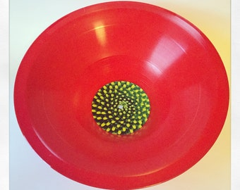 "Red 12"" Vinyl Stretched LP Flower Bowl - Green & Yellow Flower Design"