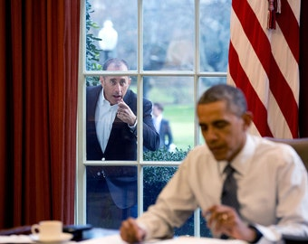 Comedian Jerry Seinfeld, knocking on Window of Oval Office, President Obama