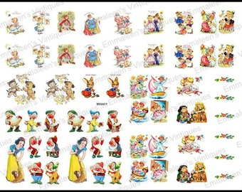 Vintage Images Fairy Tales Nursery Rhymes Decal Dollhouse Miniatures Découpage MIN401