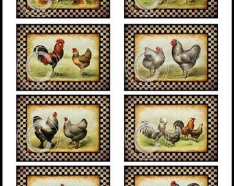 Vintage Grunge Primitive Checkered Roosters Labels Waterslide Decals~ BIR831