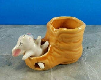 Vintage Kitsch Mouse In A Boot Ceramic Figurine - Cute White Mouse with Foot Stuck in Boot