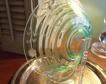 GREEN GLASS Etched BOWL, Green Depression Glass Large Serving Bowl