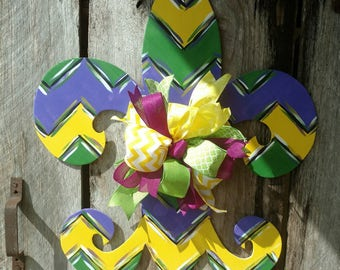 Mardi Gras Fleur de lis, chevron, door decor, home decor, wood, hand painted, fall door hanger, spring door hanger,