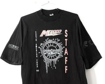 LARGE Vintage 1992 Guns N Roses M2000 South America Tour Rare Authentic Graphic T-Shirt