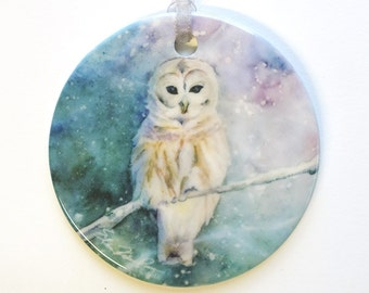 Owl Ornament Porcelain Bird Oranment from Original Watercolor Copyright