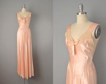 30s Dress // 1930's Peach Bias Cut Satin and Ecru Lace Slip Dress // Medium