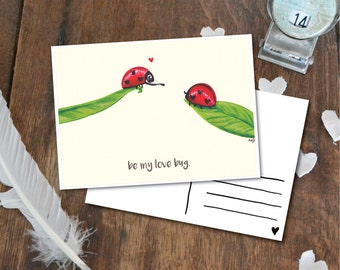 Be my love bug - Postcard with Illustration, love bugs