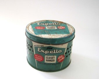 Vintage Expello Tin, Tin for Closet, 1960 Odor-Aire Made in Kansas, USA, Tin with Holes