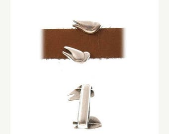 On Sale NOW 25%OFF Beautiful Flying Bird Sliders Bars For 5-10mm Flat Leather Cord - Antique Silver - Z4127 - Qty 2