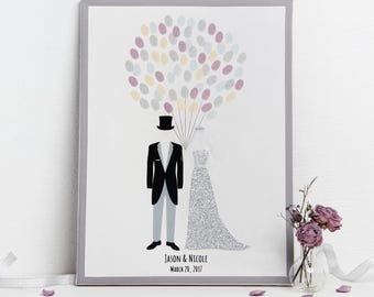 Wedding Finger Print Tree Couple With Silver Glitter - Personalized Canvas Thumbprint Guest Book - Alternative Wedding Guestbook - by Liumy