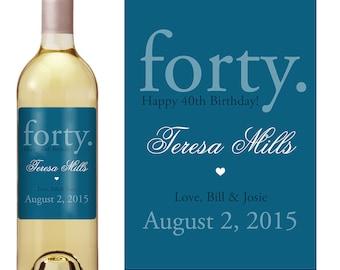 40th Birthday Wine Label - Personalized Wine Label - Custom Wine Label - Milestone Birthday - Adult Birthday
