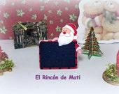 Pizarra navideña decorativa con Papa Noel, escala 1/12, miniatura para casas de muñecas.