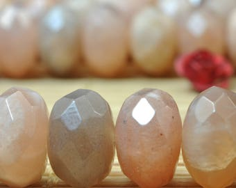 58 pcs of A Grade--Natural Sunstone faceted rondelle beads in 6x10mm (06300#)