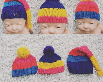 Newborn knit pompom beanie or longtail knotty hat, photo prop, coming home, gift,rainbow,knit,crochet,rts
