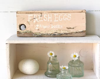 """Hand painted vintage reclaimed wood """"Fresh Eggs"""" sign"""